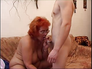 Big Tits Blowjob Glasses Mom Natural Old And Young Redhead