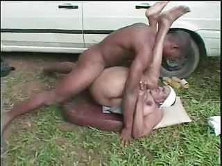 Ebony Hardcore Mom Old And Young Outdoor