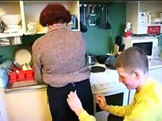 Amateur Homemade Kitchen Mom Old And Young Russian
