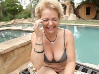 Lingerie Mature Mom Outdoor Pool