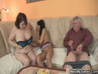 Chubby Family Old And Young Small Cock Threesome