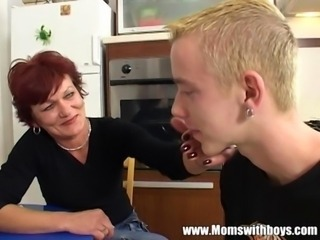 Kitchen Mom Old And Young Redhead Skinny