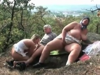 Big Tits Family Natural Old And Young Outdoor  Threesome