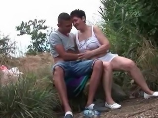 Amateur Mom Old And Young Outdoor