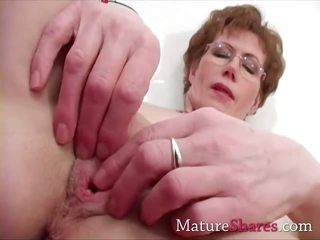 Close up Glasses Masturbating Mature Pussy