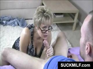 Blowjob Glasses Handjob Mature Mom Old And Young