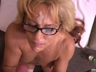 Cumshot Facial Glasses Mature
