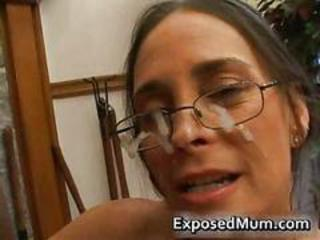 Brunette Cumshot Facial Glasses