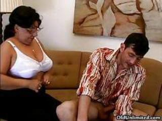 Brunette Glasses Lingerie Mom Old And Young