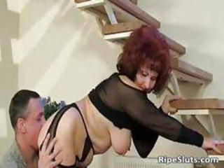 Lingerie Mom Natural Old And Young Redhead