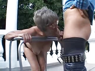 Blowjob Glasses Mom Old And Young Outdoor