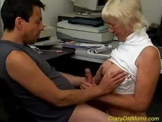 Blowjob Glasses Handjob Mom Office Old And Young Secretary