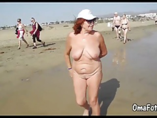 Amateur Beach Big Tits Natural Nudist Outdoor Public Redhead