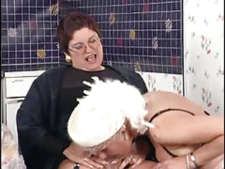 Clothed European German Glasses Lesbian Licking