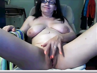 Big Tits Brunette Glasses Masturbating Natural Pussy  Solo Webcam