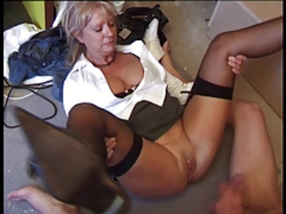 European French Pussy Shaved Stockings