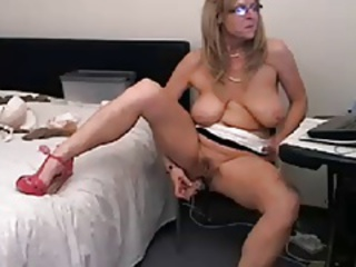 Big Tits Glasses Masturbating Mature Natural  Solo Toy Webcam