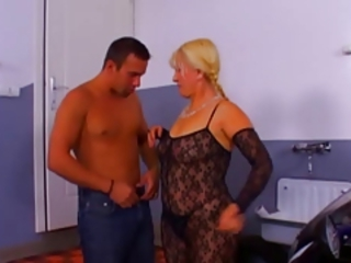 Blonde Lingerie Mom Old And Young