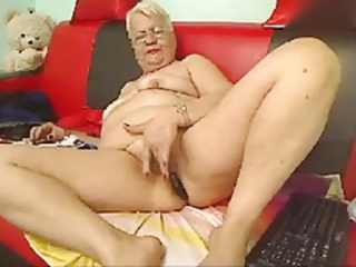 Blonde Chubby Glasses Masturbating  Solo Webcam
