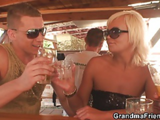 Blonde Drunk Granny Mom Old And Young Outdoor Public