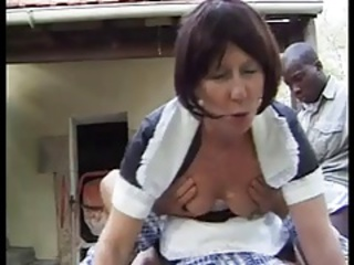 Clothed Interracial Maid Outdoor Uniform