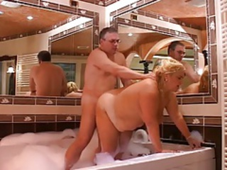 Bathroom Blonde Chubby Doggystyle European Italian Mom Old And Young