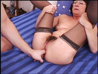 Fisting Glasses Hairy Mom Old And Young Stockings