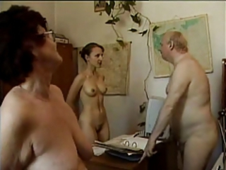 Nudist Office Old And Young Secretary