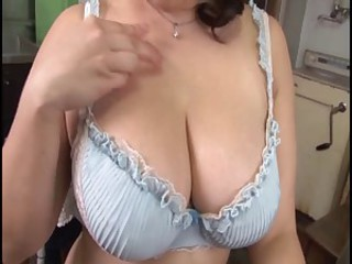 Big Tits Kitchen Lingerie Mature Natural