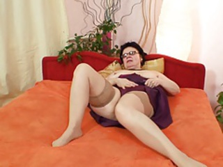 Glasses Masturbating Solo Stockings