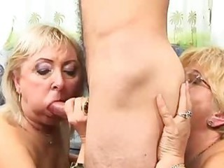 Blowjob Glasses Mom Old And Young Threesome