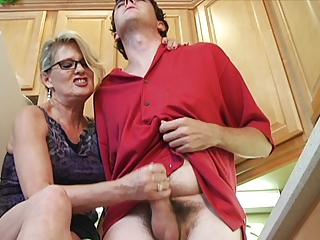 Glasses Handjob Kitchen Mom Old And Young