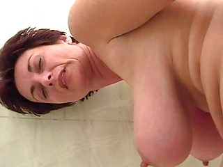 Bathroom Big Tits Mom Natural Nipples