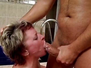 Blowjob Cumshot Pool Swallow