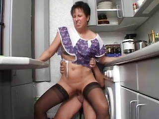 European German Hardcore Kitchen Mature Mom Old And Young Riding Stockings