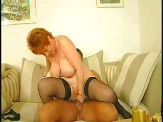 Big Tits Natural Redhead Riding Stockings