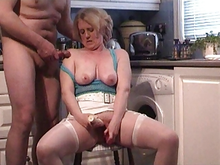 Amateur Homemade Kitchen Masturbating Older  Stockings Toy Wife