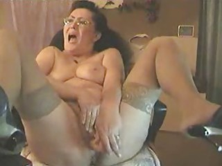 Brunette Glasses Masturbating Mom Orgasm Solo Stockings Toy Webcam