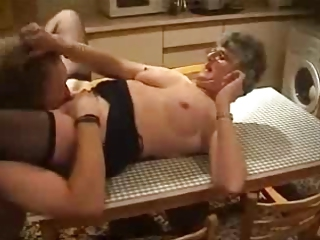 Amateur Glasses Kitchen Licking Stockings