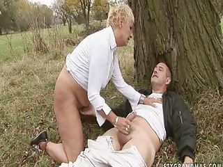 Blonde European Handjob Outdoor