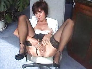 Masturbating Office Pussy Secretary Stockings