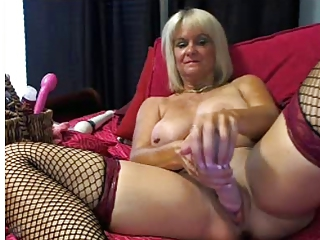 Dildo Fishnet Masturbating Mom Solo Stockings Toy Webcam