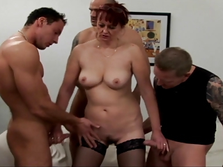 Amateur Cuckold Gangbang Handjob Old And Young Redhead Stockings Wife