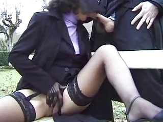 Blowjob Clothed Mature Outdoor Public Stockings Wife