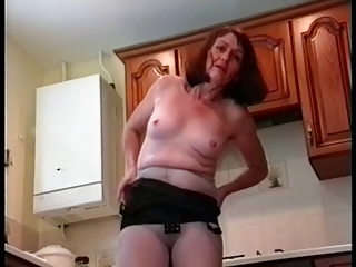 Amateur Homemade Kitchen Pantyhose Solo Wife