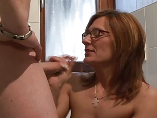 European German Glasses Handjob Mature