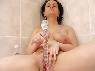 Bathroom Dildo Masturbating Mature Mom Pussy  Shaved Solo Toy