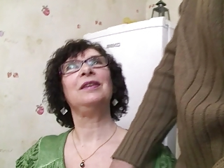 Amateur Brunette Glasses Kitchen Mom