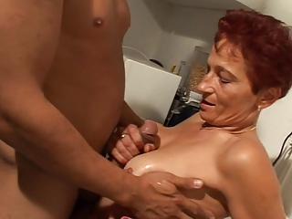 European German Handjob Kitchen Redhead Wife
