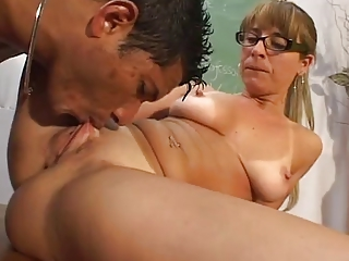 Close up Glasses Licking Mature Old And Young Pussy Shaved Teacher